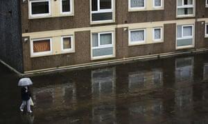 A woman on housing estate
