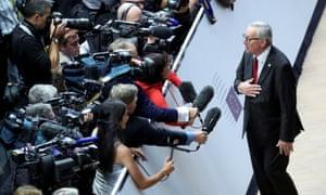 Jean-Claude Juncker speaking to reporters.