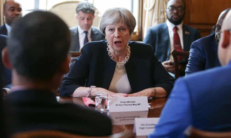 Theresa May at Tuesday's meeting with Caribbean leaders at Downing Street