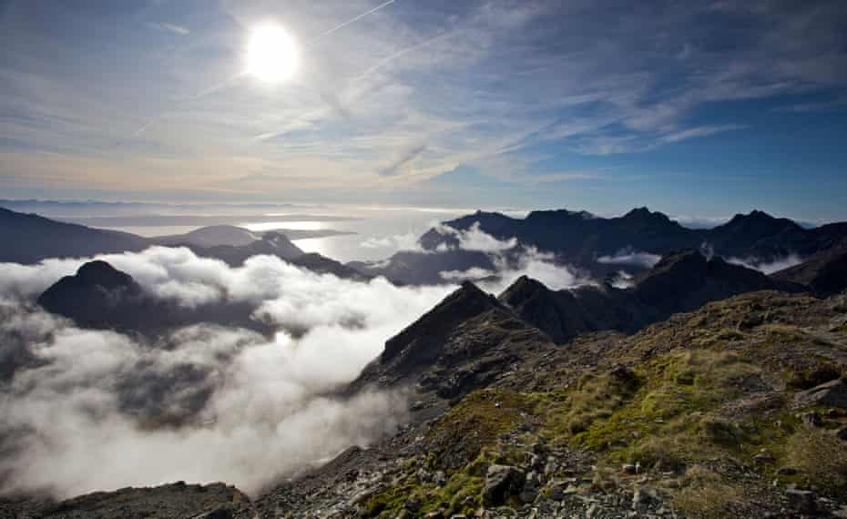 Seven miles of mountains ... a view of the mighty ridge from the summit of Bruach na Frithe, more than 3,000ft up.