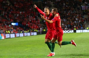 Ronaldo celebrates scoring his second goal for Portugal.