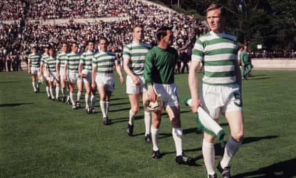 Headier days for Celtic in Europe: Billy McNeill leads them out for the 1967 European Cup final.