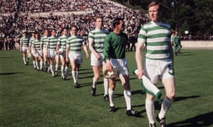 Billy McNeill leads out his Celtic team, with Tommy Gemmell third right, for the 1967 European Cup final.