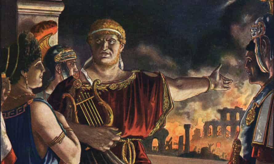 Nero contemplates the burning of Rome while singing about the destruction of Troy, in 64 AD, in an illustration by Tancredi Scarpelli.