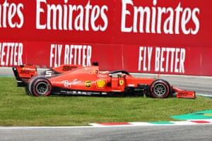 Sebastian Vettel of Ferrari spins.