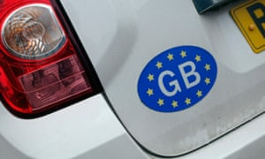 GB sticker with european stars on the back of a car