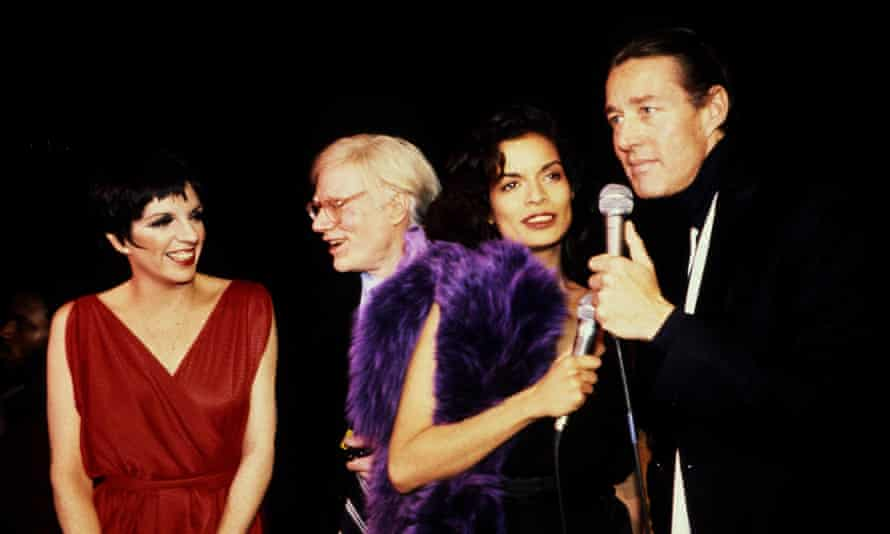 Halston, right, with Liza Minnelli, Andy Warhol and Bianca Jagger in New York, in this undated 1970s photo.