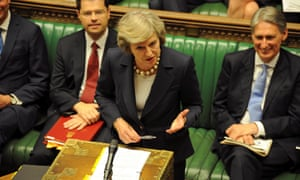 Theresa May at her first prime minister's questions