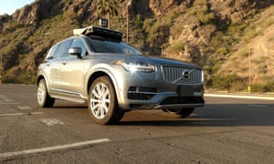 An Uber self-driving Volvo fitted with 'Lidar' technology.