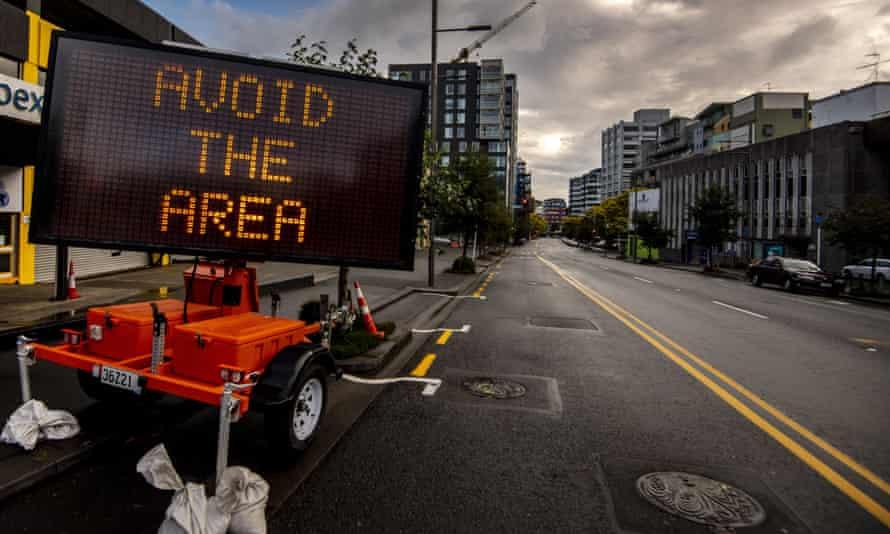 an 'avoid the area' sign in wellington new zealand