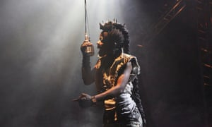Rock of ages … Debbie Korley as Beowulf at the Unicorn theatre, London.