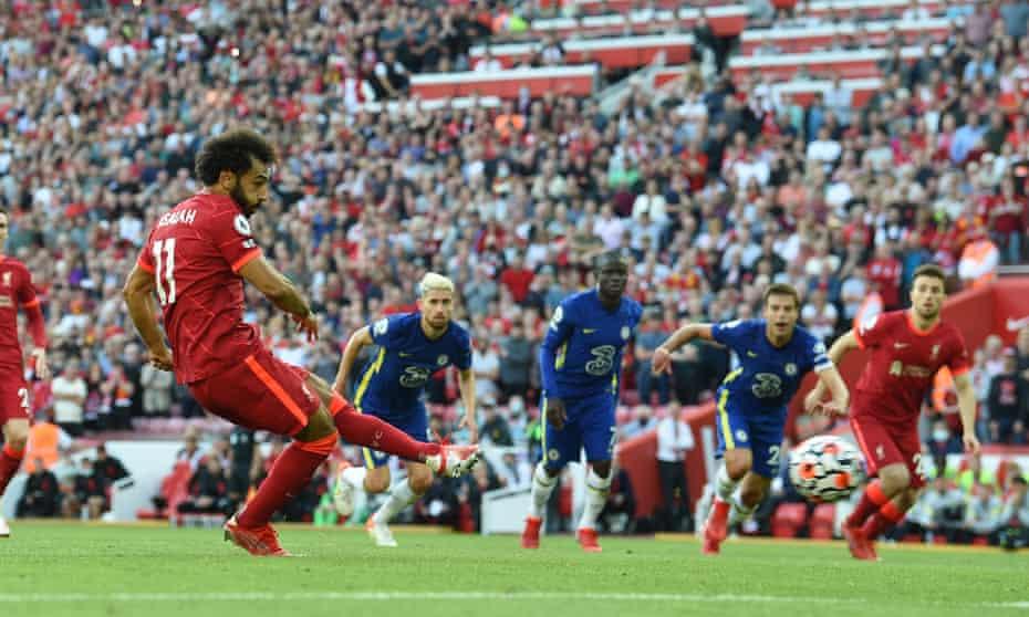Mohamed Salah scores from the penalty spot for Liverpool against Chelsea.