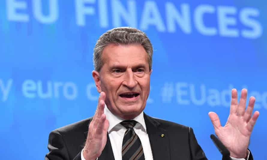 Günther Oettinger, German European commissioner for the budget, at a press conference in Brussels on Wednesday.