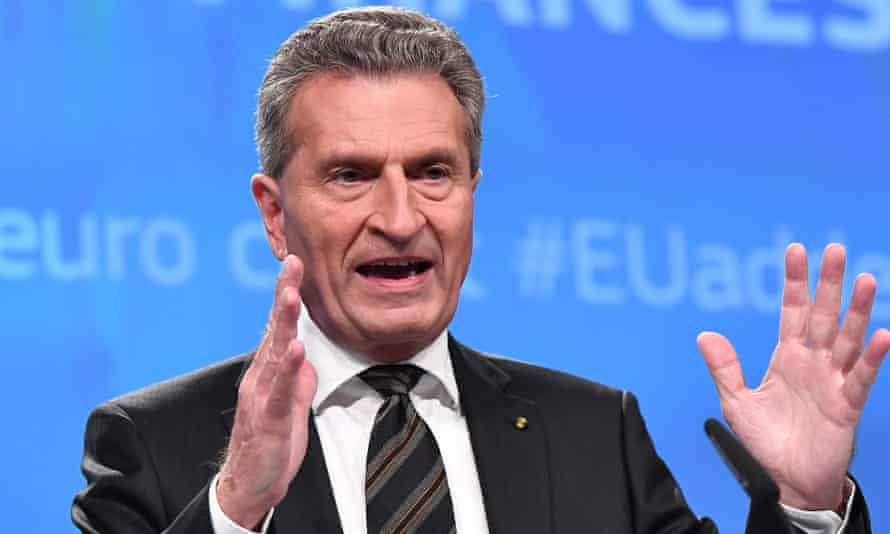 The EU's commissioner for budget and human resources, Günther Oettinger.