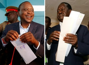 Kenyan opposition leader Raila Odinga and the country's president, Uhuru Kenyatta, cast their vote during the presidential election.