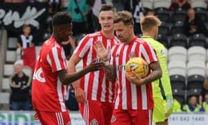 Sunderland's Luke Molyneux (centre) celebrates after scoring in the 6-0 win against St Mirren in July
