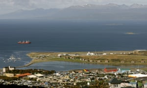 """""""View of the city of Ushuaia, on the shores of the Beagle Channel, southern Argentina."""""""