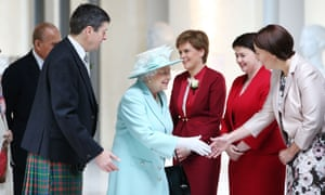 The Queen meets, from left to right, Scottish first minister and SNP leader Nicola Sturgeon, Scottish Conservative leader Ruth Davidson and Scottish Labour leader Kezia Dugdale at the opening of the Scottish parliament in Edinburgh.
