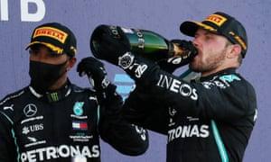 Valtteri Bottas celebrates victory on a frustrating day for his Mercedes teammate, Lewis Hamilton.