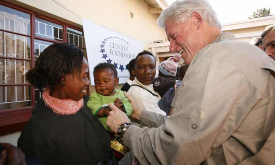 Bill Clinton tours an HIV/Aids care and treatment facility and meet with patients and staff on 12 July 2006, in Maseru, Lesotho, South Africa.