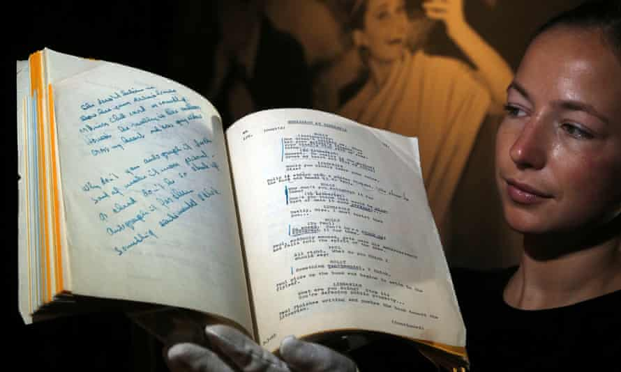 Audrey Hepburn's Breakfast at Tiffany's script, displayed at Christie's auction house in London