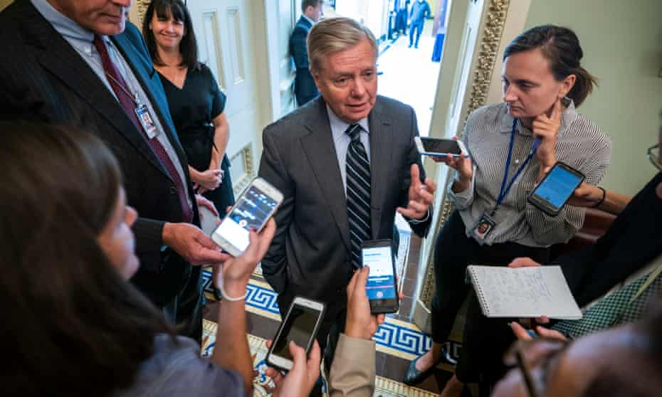 Lindsey Graham speaks to the media on Capitol Hill.