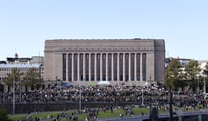 Helsinki, Finland Thousands gather at Parliament House