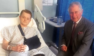 Travis Frain meeting the Prince of Wales at King's College Hospital in south London.