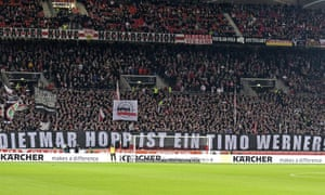 A banner earlier this year at Stuttgart equates the despised Dietmar Hopp to Timo Werner.