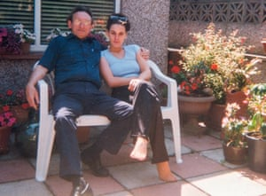 Grace Dent, 21 years old, with her father in his garden in Currock