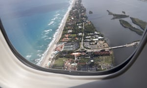 Mar-a-Lago resort in Palm Beach, Florida, seen from the window of Air Force One on 16 April 2017.