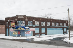 Gratiot Liquor, 3343 Gratiot Avenue, Detroit, 2017, art by Nicole MacDonald, 2016. Macdonald is focusing on Detroit's Black Bottom, the storied neighborhood (destroyed in the 1960s to make way for the Chrysler Freeway and Lafayette Park) renowned for the black-owned businesses and entertainment focused along its Paradise Valley corridor