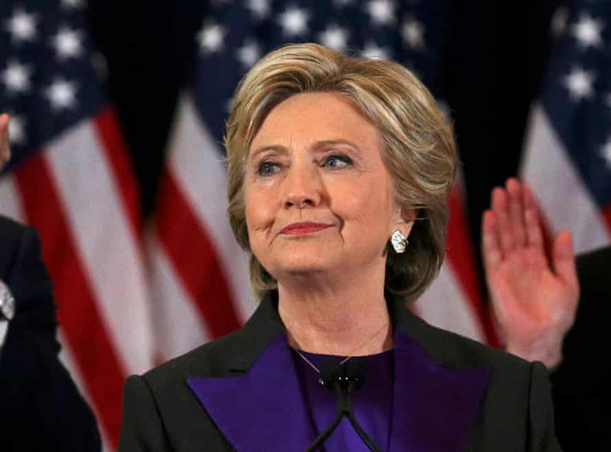 Hillary Clinton gives her concession speech in November 2016.