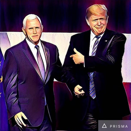 Donald Trump and Indiana governor Mike Pence addressing the crowd during a campaign stop in Indiana.