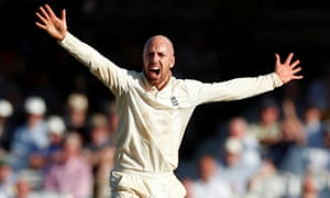 England's Jack Leach successfully appeals for the wicket of Australia's Tim Paine.