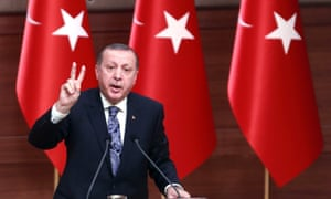 Turkish president Recep Tayyip Erdo​ğan delivers a speech at the presidential complex in Ankara on Thursday.