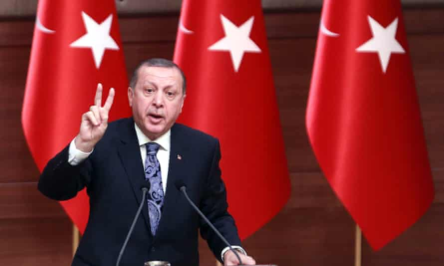 Turkish president Recep Tayyip Erdoğan delivers a speech at the presidential complex in Ankara on Thursday.