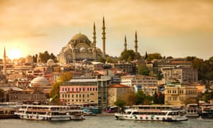 Istanbul sunset over bosphorus