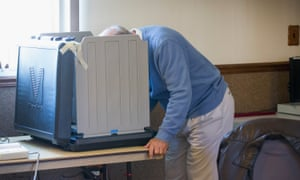 Jim Facklam votes at the Whiting Fire Department in Whiting, Indiana.