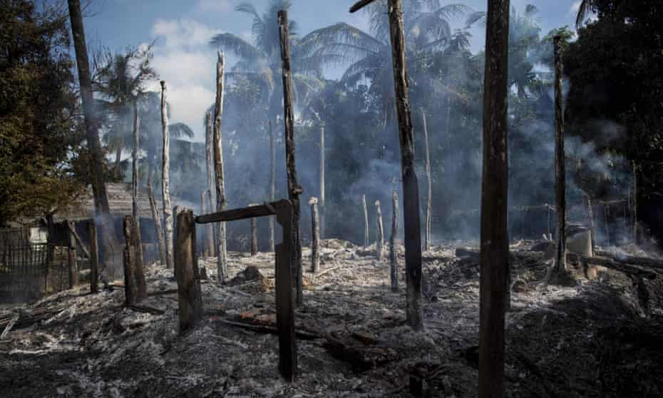 Burned homes in Warpait village, a Muslim village in Myanmar's Rakhine State. Accusations of rights abuses including rape have been made against security forces.