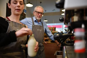 Wales, UK: Labour leader Jeremy Corbyn makes a cup of coffee as he campaigns in Barry, south Wales