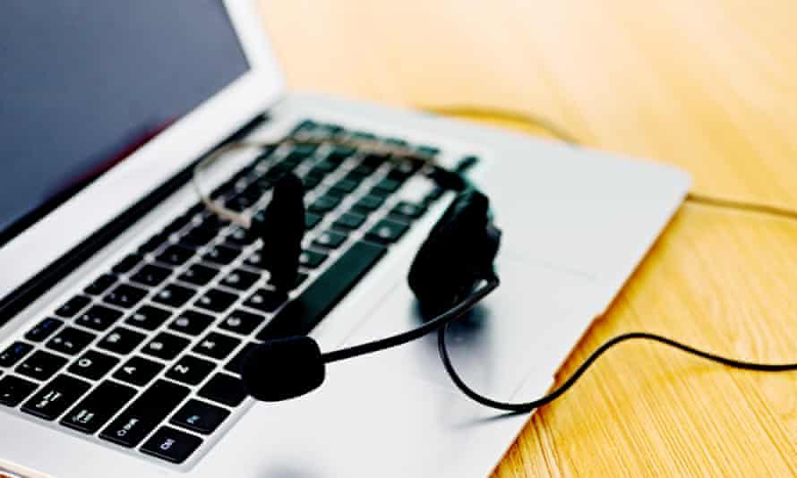 Headset on laptop computer