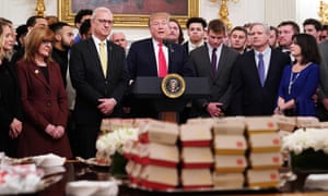 An array of fast food awaits guests at a White House event to honor the North Dakota State University Bison football team.