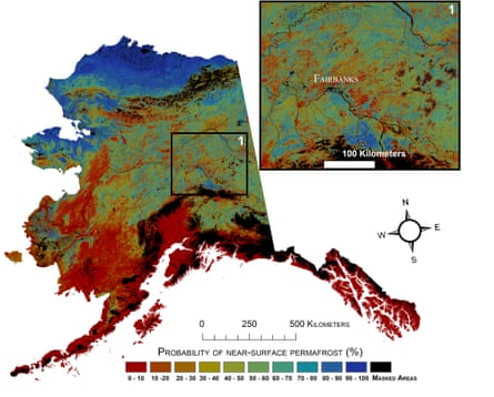 A USGS chart indicates permafrost probabilities in Alaska.