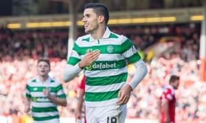 Celtic's Tom Rogic celebrates scoring against Aberdeen at Pittodrie in October.
