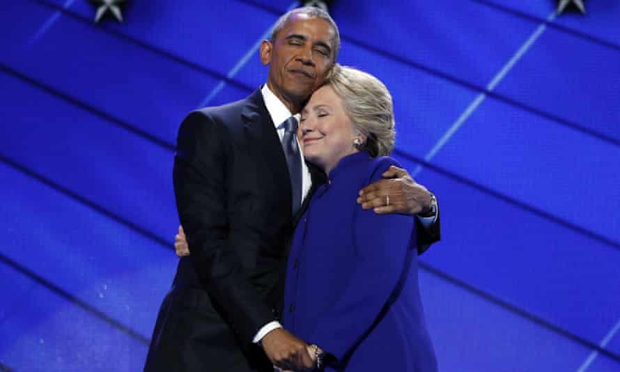 Barack Obama and Hillary Clinton at the Democratic National Convention in Philadelphia on 27 July 2016.