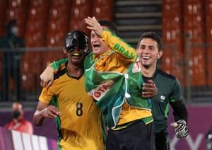 Raimundo Mendes of Brazil celebrates after scoring the winning goal.