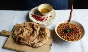 Rummaniyeh and soft, chewy taboon flatbreads.