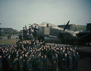Celebrations at Waddington to mark Lancaster R5868 (S-Sugar) reaching 100 missions while serving with 467 Squadron in May 1944