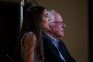 Bernie Sanders and Alexandria Ocasio-Cortez before a rally in Wichita.